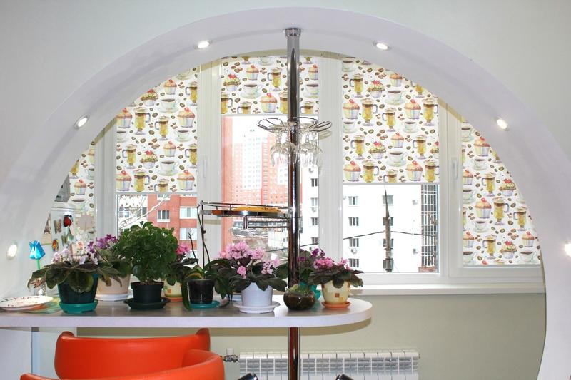 кофе жалюзи акварель рулонные шторы