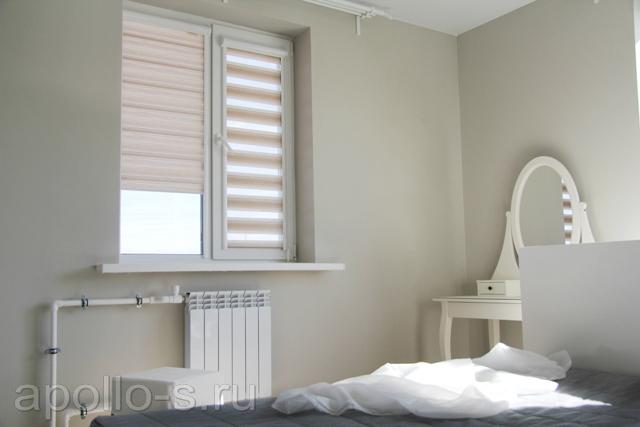 рулонные шторы зебра в спальню